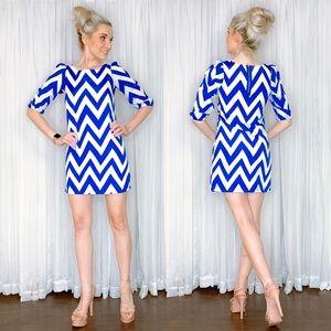 Petite Blue Chevron Long Sleeve Dress